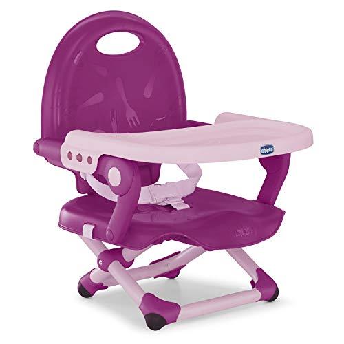Chicco Pocket Snack Rehausseur Chaise Bébé pour Enfants de 6 mois à 3 ans (15 kg), Chaise Haute Portable, Réglable, avec Fermeture Compacte et Plateau Amovible - Violetta