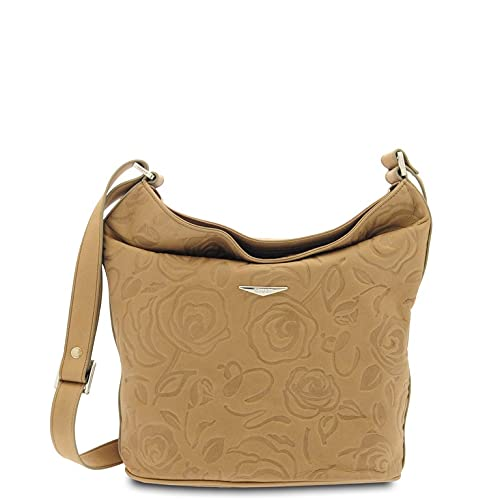 GIUDI  - Woman bag in calfskin leather with rose print, genuine leather, bucket, Made in Italy (Taupe)