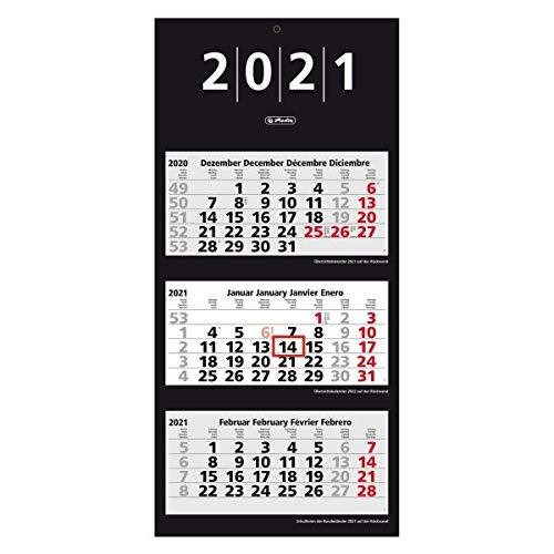 herlitz 50030149 3-Monats-Wandkalender 2021, 33 x 70 cm, 1 Stück