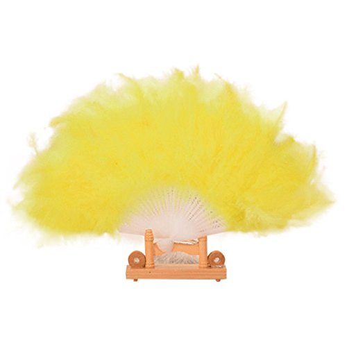 Misaky Wedding Showgirl Dance Elegant Large Feather Folding Hand Fan Home Decor (Yellow)