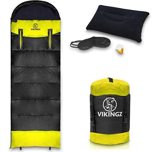 VIKINGZ Schlafsack Outdoor [Sommerschlafsack] 3-4 Jahreszeiten für Erwachsene und Kinder | Deckenschlafsack Ultraleicht mit kompakten Packmaß | robust und waschbar Ideal für Camping Festival +Bonus