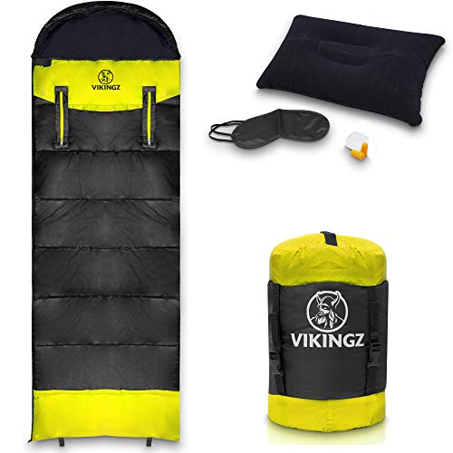 VIKINGZ Schlafsack 3-4 Jahreszeiten für Erwachsene und Kinder   Deckenschlafsack   Winterschlafsack robust & wasserdicht   kleines Packmaß Ultraleicht - Ideal für Camping, Outdoor, Festival + Bonus