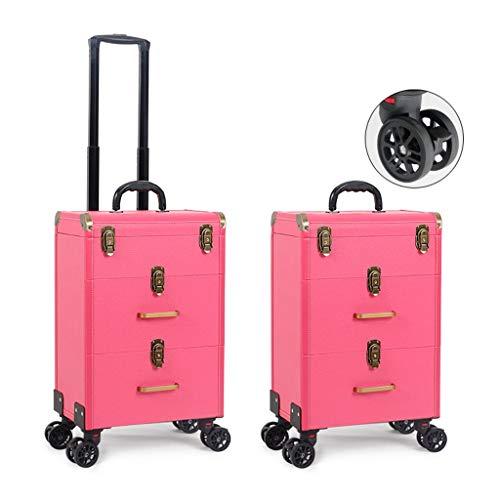 Cosmetische koffer Ali@ Professional, Make-up Trolley Case, Drie verdiepingen Hoge Capaciteit Tattoo Wenkbrauwen Toolbox, Vier Vliegtuigen Wielen Met Remmen, Rolling Trolley Case