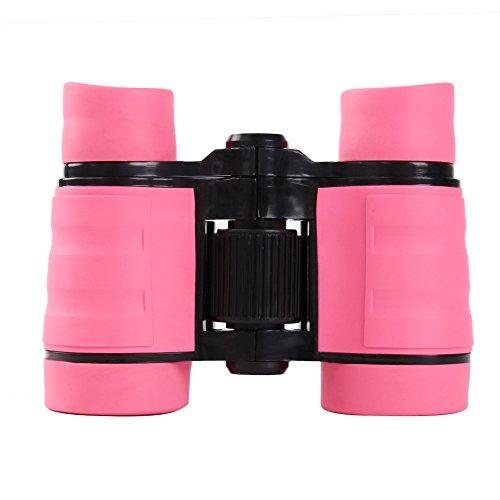 Kinder Ferngläser, Luerme Mini tragbare Ferngläser Teleskope, 4 x 30 verstellbare Ferngläser für Reisen, Abenteuer, Klettern, im Freien (Rosa)