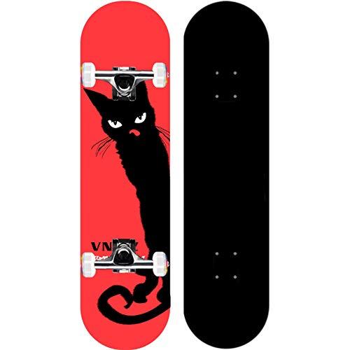 KHSKX Anfänger Skateboard, komplettes Skateboard für Teenager, Jungen, Mädchen, Erwachsene, Ahorn Skateboard-Katze