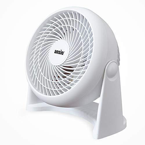 ANSIO Turbo-Ventilator, Tisch-/Wand-Tischventilator, Turbo Lüfter mit 3 Geschwindigkeitsstufen- Weiß