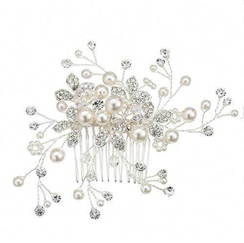 Musuntas Eleganter Retro elegant Damen Blumen Braut Kamm Perlen Strass Hochzeit Brautschmuck Braut Haarschmuck Strass Haarklammer--J2590A