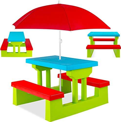 COIL C0325-GREEN - Tavolo da picnic colorato per bambini, tavolo da giardino, panca, sedia e ombrello