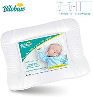 Baby Toddler Pillow for Sleeping with Pillowcase (13 x 18), Hypoallergenic Baby Toddler 's Flat Pillows, Oeko-TEX Standard 100 Certificated Soft and Safe Travel Pillow Fits Mini Crib or Crib