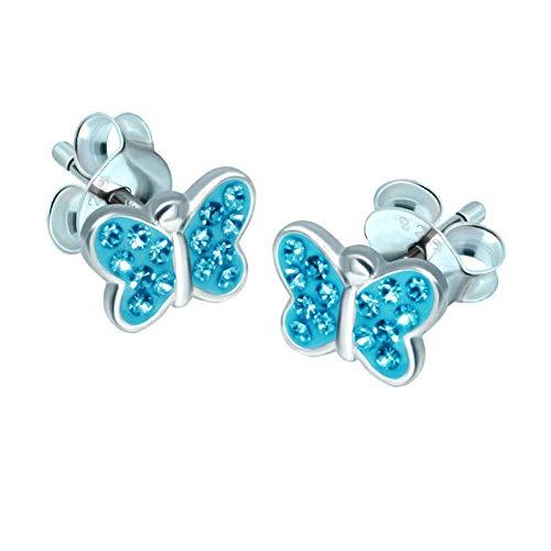 FIVE-D - Orecchini da bambina a forma di piccola farfalla, in argento Sterling 925 in cofanetto portagioie. e Argento, colore: Cristallo azzurro, cod. SL-kinderohrstecker270-V