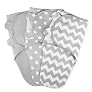 Swaddle Blanket Baby Girl Boy Easy Adjustable 3 Pack Infant Sleep Sack Wrap Newborn Babies by Comfy Cubs (Small (0-3 Month), Gray)