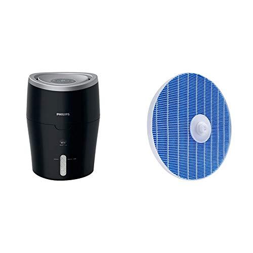 Philips HU4813/10 Luftbefeuchter (bis zu 44m², hygienische NanoCloud-Technologie, leiser Nachtmodus, Automodus) schwarz & FY5156/10 Luftbefeuchtungsfilter (für Philips Luftwäscher HU5930/10)
