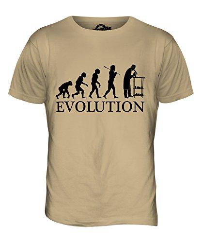Candymix Wissenschaftler Mit Mikroskop Evolution des Menschen Herren T Shirt, Größe 2X-Large, Farbe Sand