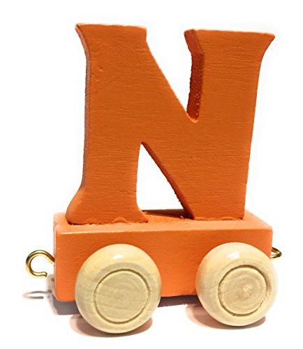 Buchstabenzug bunt   bunte Lok - farbige Waggons   Wunschname zusammenstellen   Holzeisenbahn   EbyReo® Namenszug aus Holz   personalisierbar   auch als Geschenk Set (Farbe Orange, Buchstabe N)