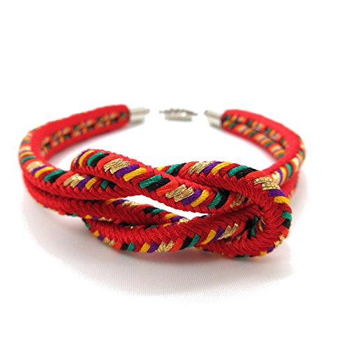 8colors Japanese Kumihimo Kimono Braided Bracelet with Magnetic Clasp Handmade in Japan gifts for Men&Women Children (Red)