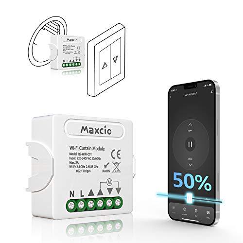 Maxcio Wlan Rolladen Zeitschaltuhr Relais Modul mit Prozentfunktion, WiFi Rolladenschalter mit Timer, Unterputz Schalter für Rolladenmotor kompatibel mit Alexa, Echo, Google Home, Smart Life
