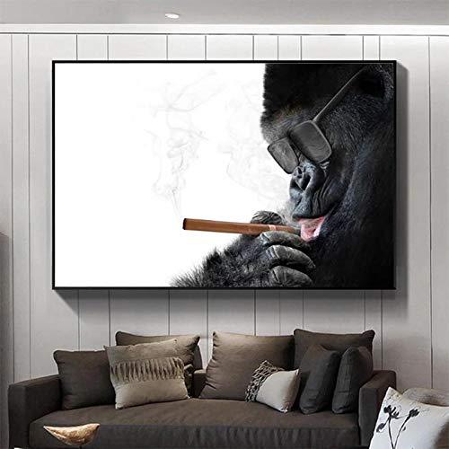 Monos carteles de fumar Pintura de pared en blanco y negro para la sala de estar Decoración del hogar Cuadros de lienzo de animales Marco moderno Arte 20x35cm (7.9x13.8in) Marco interno