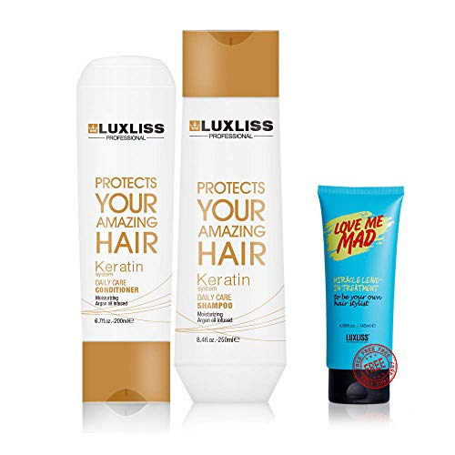 Luxliss Keratin Dailycare Shampoo And Conditioner Get 1 Love Me Mad Miracle Leave In Treatment Worth Of 399 Rs (250ml/200ml)