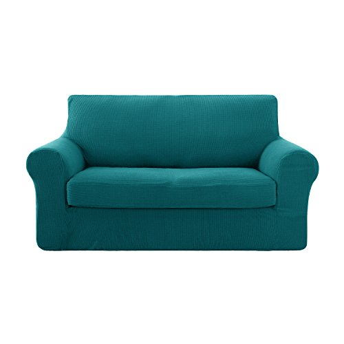 Deconovo 2-Piece Jacquard Spandex Couch Slipcovers Fitted Sofa Protector Cover Stretch Sofa Covers for 2 Cushion Couch Turquoise