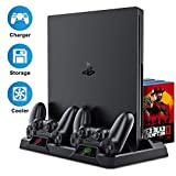 YoWin PS4 Vertical Stand, Upgraded 8-in-1 PS4 Cooling Fan Cooler Stand for Playstation 4 PS4/PS4 Pro/PS4 Slim, PS4 Charging Station with 16 PCS Game Storage