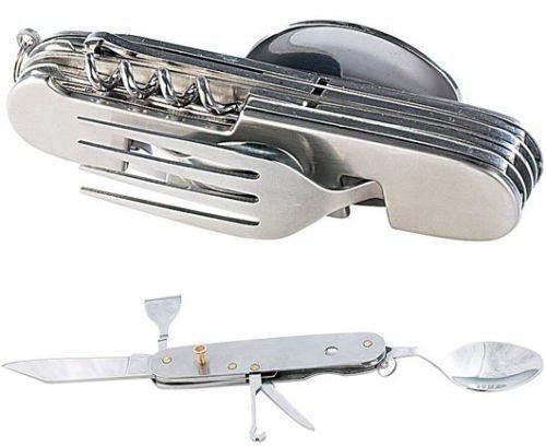 Takestop® - Cubertería plegable de acero - Navaja suiza multiusos con función de cuchara, tenedor y cuchillo