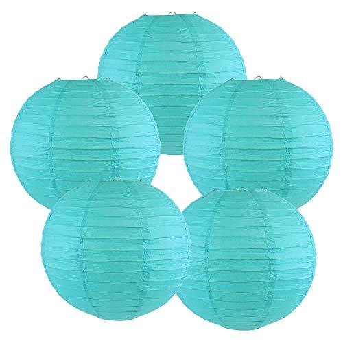 Just Artifacts 10-Inch Aquamarine Blue Chinese Japanese Paper Lanterns (Set of 5, Aquamarine Blue)