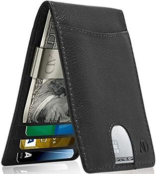 Real Leather Wallets For Men - Front Pocket Slim Money Clip Bifold Mens Wallet Black RFID Minimalist Credit Card Holder - Gifts For Men