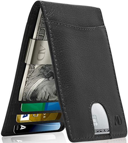 Real Leather Wallets For Men - Front Pocket Slim Money Clip Bifold Mens Wallet Black RFID Minimalist Credit Card Holder - Fathers Day Gifts For Men