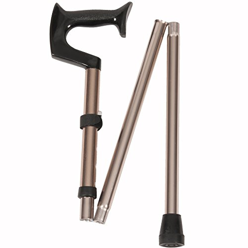 PCP Folding Cane Orthopedic Handle Ergonomic with Adjustable Height Walking Aid, Bronze, Medium