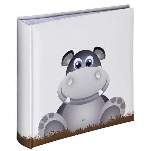 Hama Kinderalbum (Einsteckalbum mit 100 Seiten, Fotoalbum zum Einstecken von 200 Fotos im Format 10x15, Babyalbum mit Nilpferd-Motiv) weiß