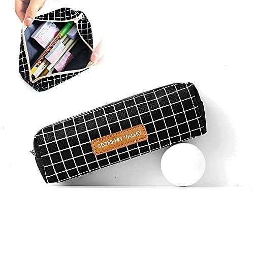 Estuche de lápices para estudiantes, sencillo y creativo con celosía cuadrada de lona, bolsa de lápices con cremallera, bolsa de papelería de gran capacidad para suministros escolares y de oficina