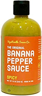 Hyattsville Sauce Co. Banana Pepper Sauce, Spicy Original, 12 Ounce Squeezable Bottle