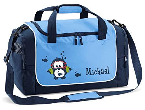 Mein Zwergenland Sporttasche Kinder Praktisch kompakt & robust Coole Sporttasche Eule als Aufdruck Farbe SkyBlue Blau 38 L Stauraum die perfekte Sporttasche für Kinder