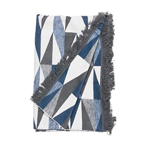Butlers MACIO - Flanell-Decke Dreiecke 150x200 cm - Kuscheldecke in Blau - auch als Sofadecke, Schlafdecke oder Tagesdecke geeignet
