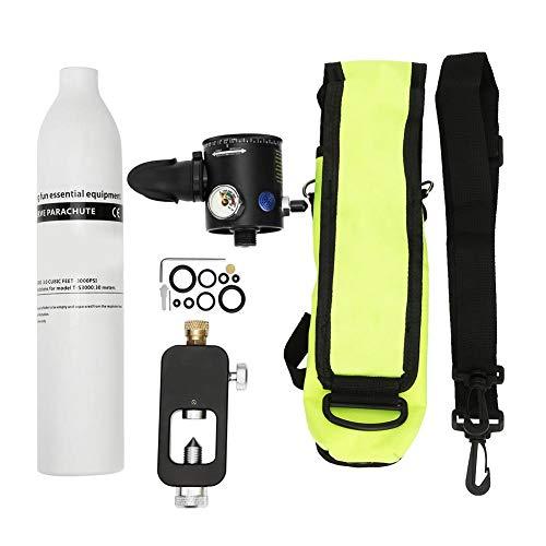 Alomejor Tanque de oxígeno de Buceo, Cilindro de oxígeno de Buceo de 0,5 l, Dispositivo de respiración subacuática para Buceo, Snorkel, enseñanza, Equipo de natación(Blanco)