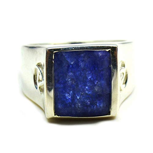 Jewelryonclick - Anello da uomo in argento Sterling con zaffiro blu indiano, naturale, misure da H a Z e Argento, 63 (20.1), colore: Blu, cod. 2019JOCMSR-372-U