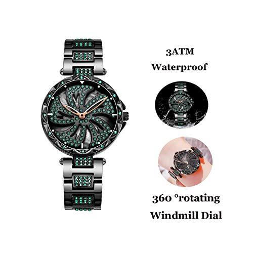 Dames Stalen Band Quartz Horloges Luxe Windmolen Diamond Glass Wijzerplaat Female Horloge Vrouwen Waterdichte Sport Casual Horloges, Zwart