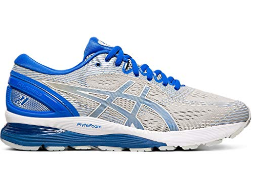 ASICS Men's Gel-Nimbus 21 Lite-Show Running Shoes, 14M, MID Grey/Illusion Blue