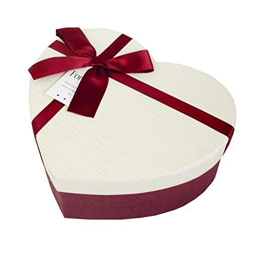 Emartbuy Rígido Lujo Caja de Regalo de Presentación en Forma de Corazón, 19 x 17 x 7.5 cm,Caja Burdeos Con Tapa De Rayas Crema, Interior Marrón Chocolate y Cinta de Lazo de Satén