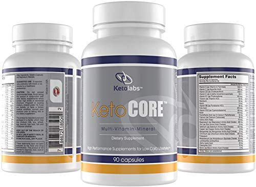 Ketolabs Keto Core Daily Multivitamin Pills for Men and Women. Contains Electrolytes, Magnesium Chelate and Potassium, Probiotics. Zero Carb Health Supplement for Ketogenic, Intermittent Fasting, Atkins, and Low Carb Diets. Minerals, Vitamin B, C, D, & E. 30 Day Supply. 90 Capsules. Free Cheat Sheet PDF Emailed After Purchase!