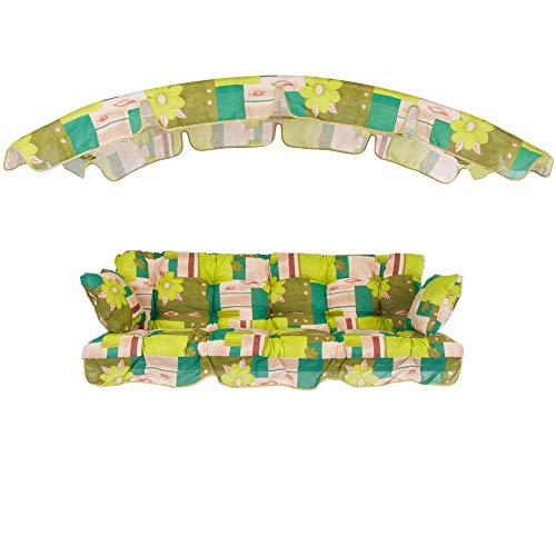 PATIO Auflagen Set Ravenna 175 cm mit Sonnendach für Hollywoodschaukel Polsterauflage Sitzkissen Rückenkissen Seitenkissen Gesteppt E001-12BB