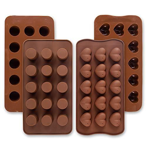 Cozihom - Stampi in silicone per cioccolatini, gelatine, caramelle, bombe di grasso, snack al cheto, cubetti di ghiaccio, tazze rotonde e a forma di cuore, 4 pezzi