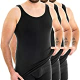 HERMKO 3007 3er Pack extralanges Herren Unterhemd (+10 cm) Tank Top aus 100% Bio-Baumwolle, Größe:D 8 = EU XXL, Farbe:schwarz