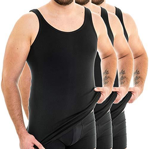 HERMKO 3007 3er Pack extralanges Herren Unterhemd (+10 cm) Tank Top aus 100% Baumwolle, Größe:D 6 = EU L, Farbe:schwarz