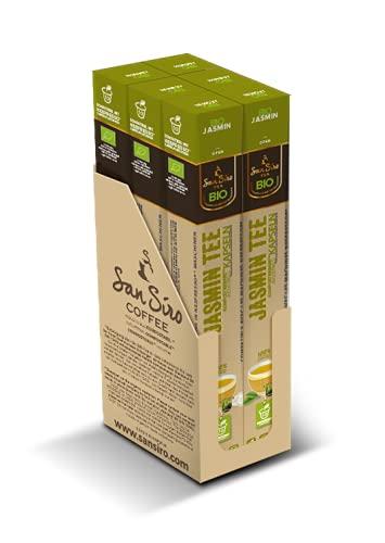 SanSiro Bio Tee JASMIN | 100{17d2061488e5d9ade1bb0ff8d13a8deae21f7ffb5c4535a9cd897c90fa6a2af9} industriell kompostierbar | 60 Kapseln | Teekapseln für Nespresso®- und SanSiro® Smart Kapselmaschinen | Nachhaltige Teekapseln