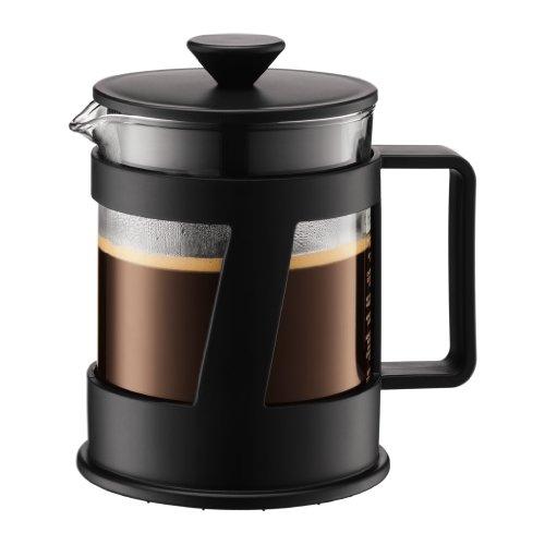 Bodum CREMA Kaffeebereiter (French Press System, Permanent Edelstahl-Filter, Sicherheits-Deckel, 0,5 liters) schwarz