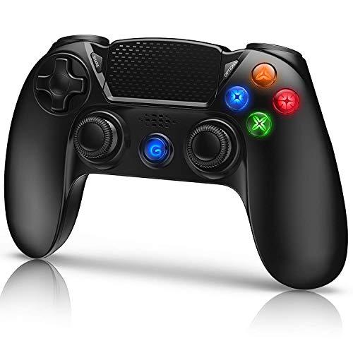 Wireless Controller Ersatz für P4,Dual Vibration Shock 4 Kabelloser Gamepad,Anti-Rutsch Handgriff & Bluetooth Gamepad mit Rechargable Remote Audio Buchse