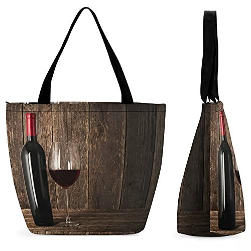 Xingruyun Bolsos De Mujer Copa De Vino Bolsos De Mano Grande Bolsos Bandolera Impresión Bolso De Hombro Handbag 28.5x18x32.5cm