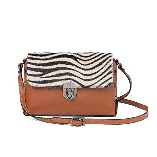 Ira del Valle, Handtasche für Damen/junge Frauen, Elegante, Modische Clutch mit Nieten, Kleine Handtasche, Clutch aus Echtleder, Modell Hollywood, Made in Italy (Leder und Zebra)