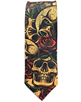 Men Novelty Skinny Neck Tie Fun Floral Skull Gift for Party Business Wedding